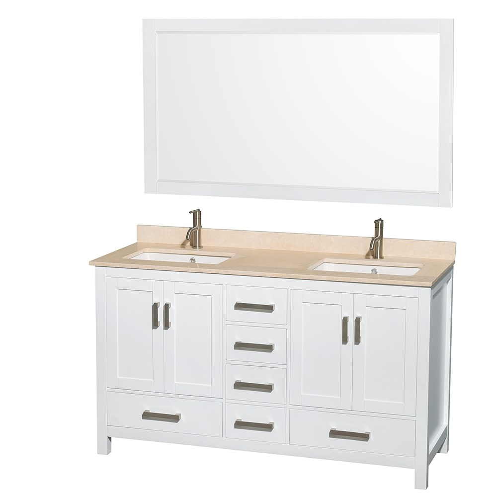 Sheffield 60 Inch Double Sink Bathroom Vanity White Finish Set By Wyndham Collection