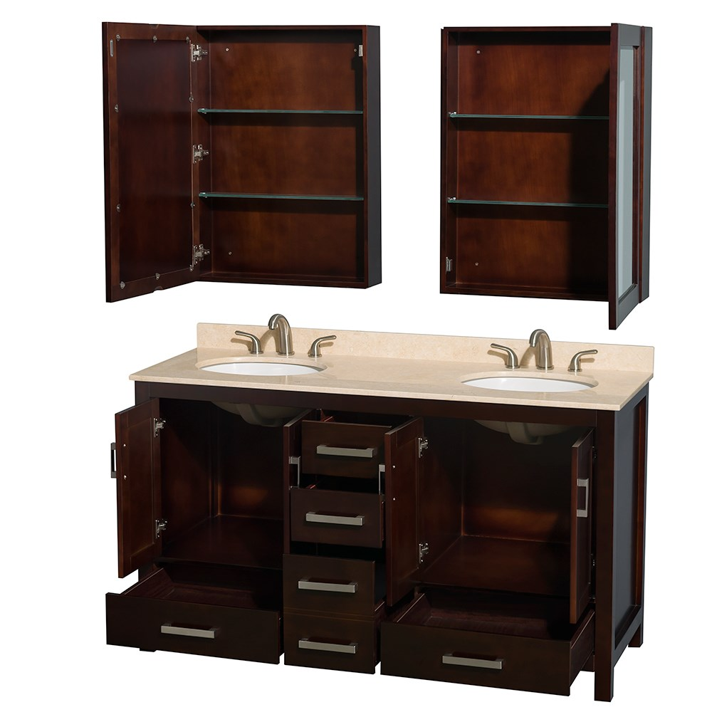 double bathroom sink cabinet sheffield 60 inch sink bathroom vanity espresso 15021