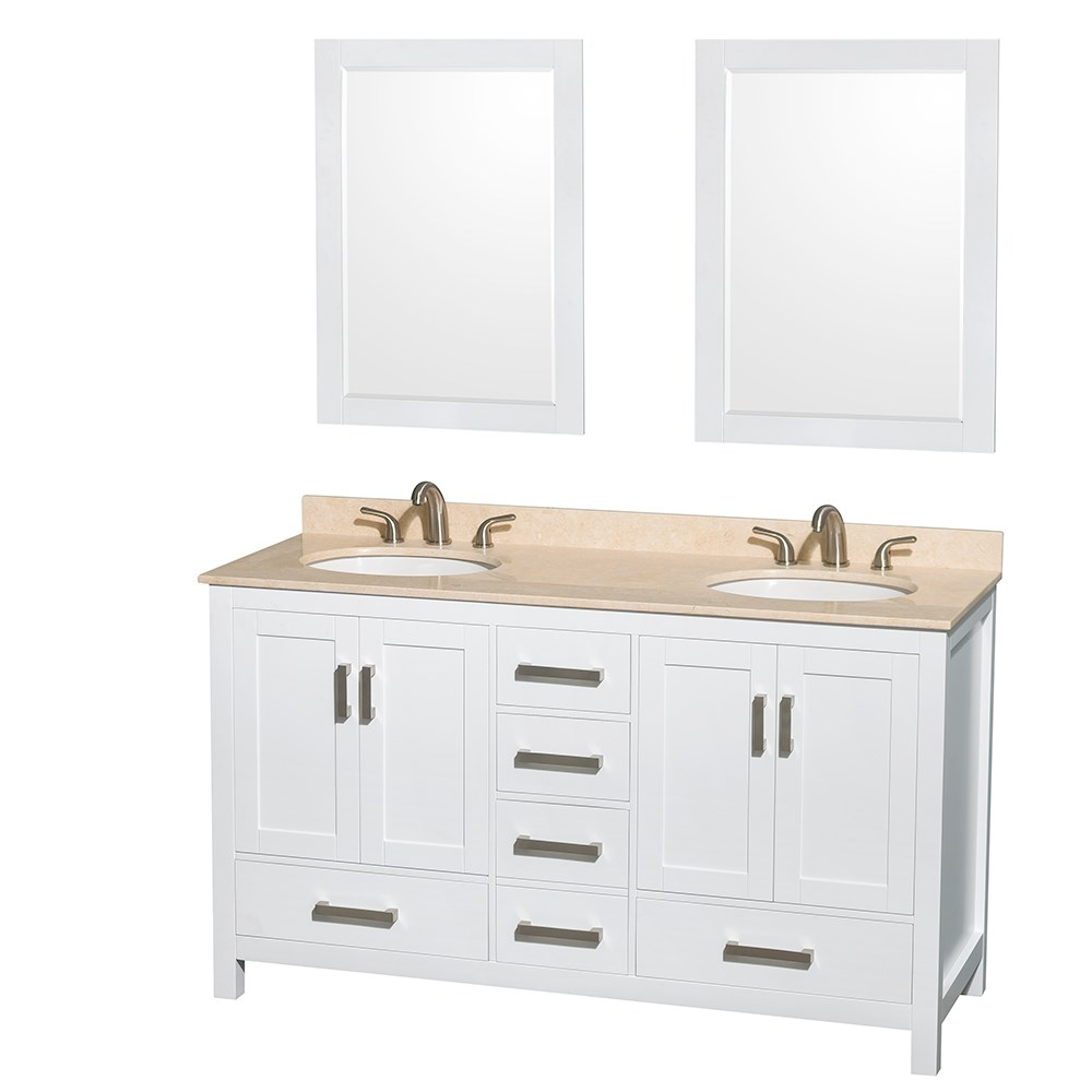 Sheffield 60 inch double sink bathroom vanity white finish set by wyndham collection Bathroom sink and vanity sets