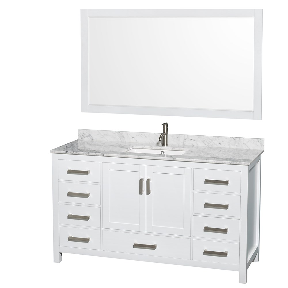 Sheffield 60 Inch Transitional White Bathroom Vanity Set By Wyndham Collection