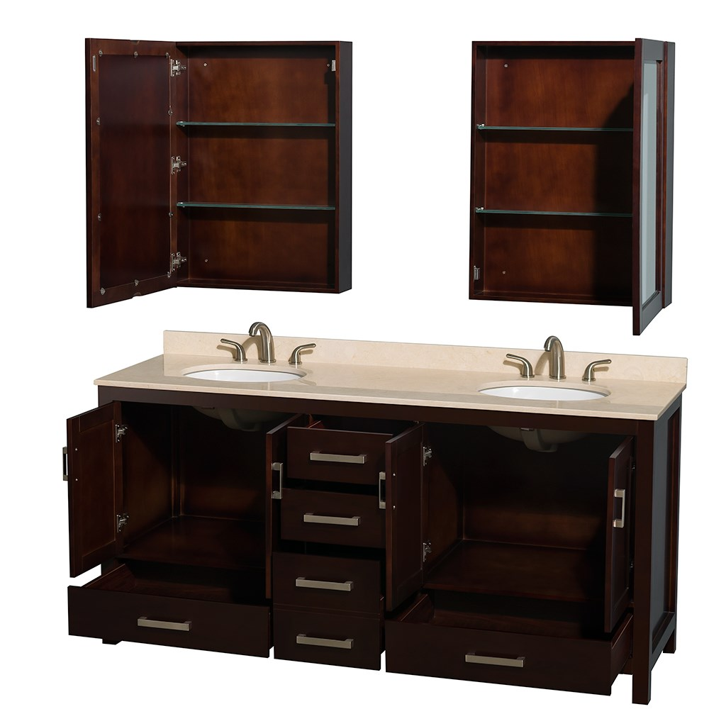 Sheffield 72 Inch Double Sink Bathroom Vanity Espresso Finish Set By Wyndham Collection