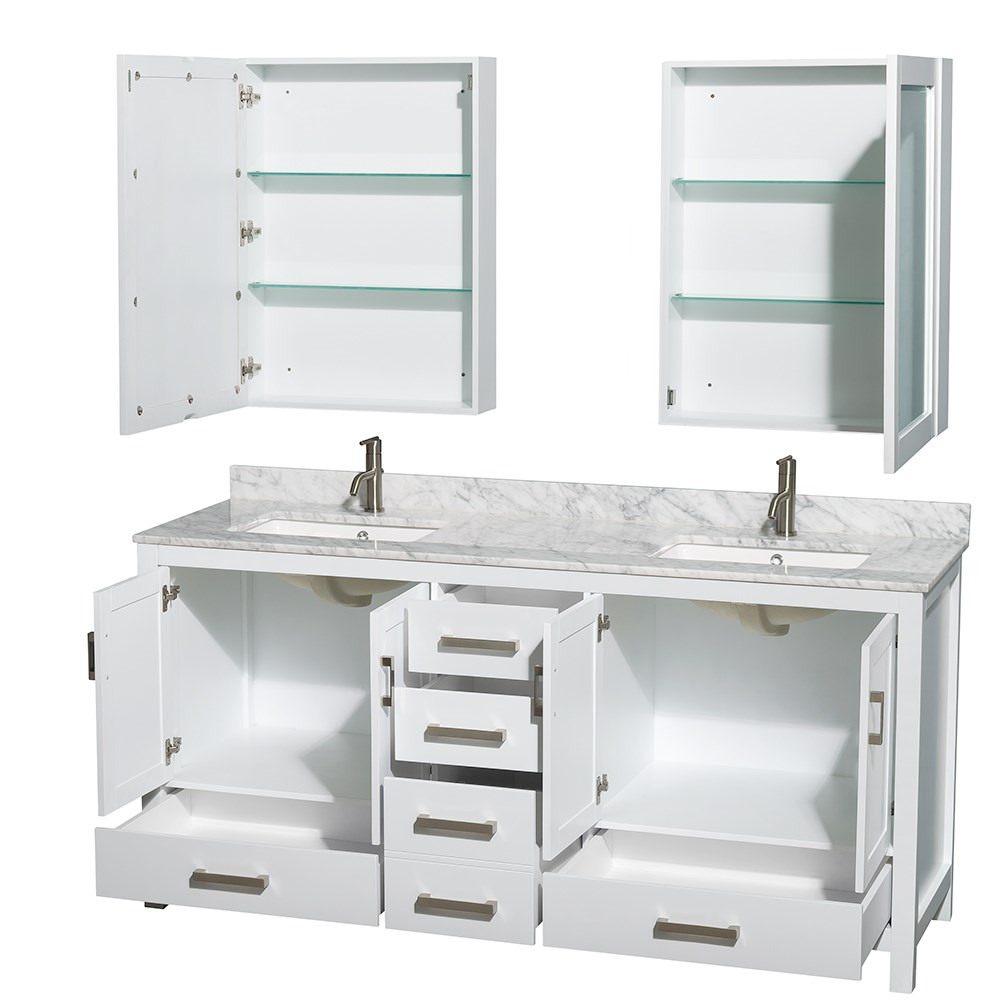 Sheffield 72 inch double sink bathroom vanity white finish for Double basin bathroom sinks