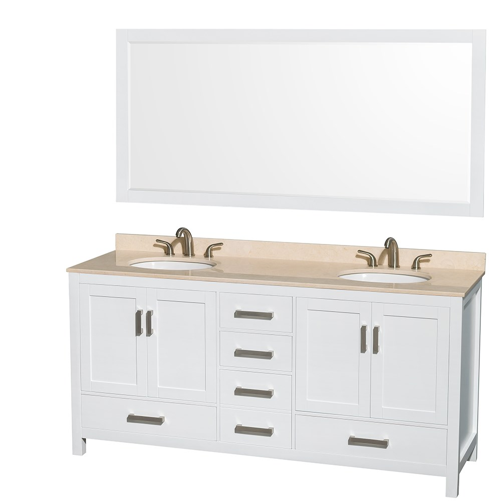 Sheffield 72 inch Double Sink Bathroom Vanity White Finish Set by