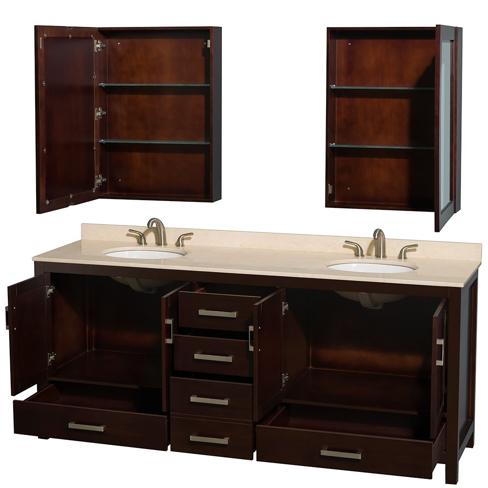 80 Inch Double Sink Bathroom Vanity in Medium Walnut