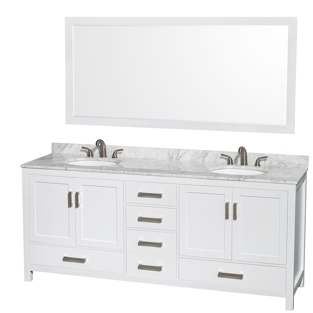 Sheffield 80 inch Double Sink Bathroom Vanity White Finish Set by ... for white bathroom vanities canada 117dqh