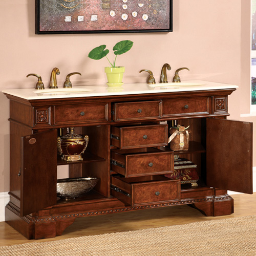 Silkroad Exclusive Double Sink Bathroom Vanity Hyp Cm