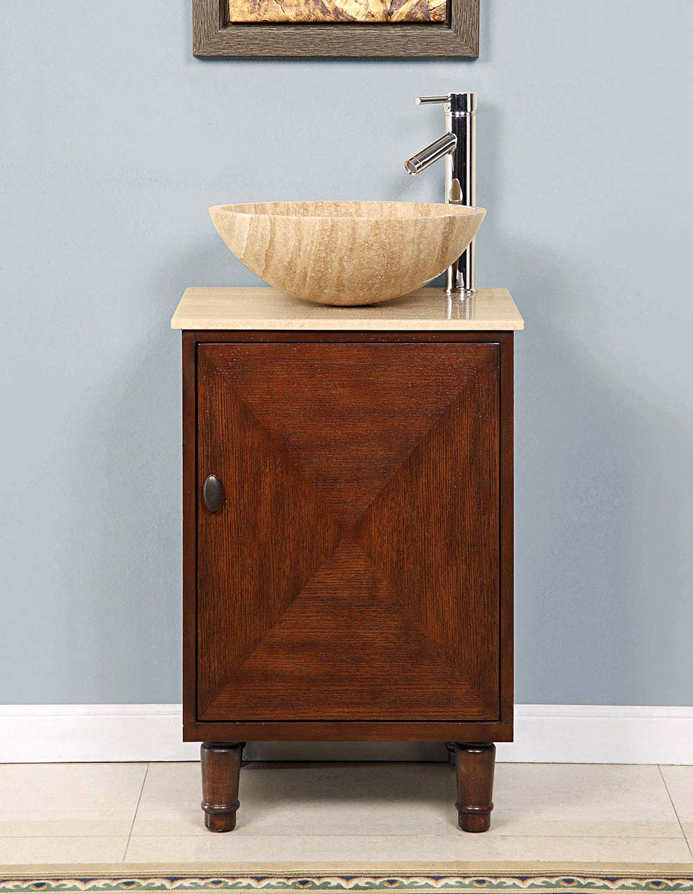 Silkroad 20 Inch Travertine Vessel Sink Vanity English Chestnut