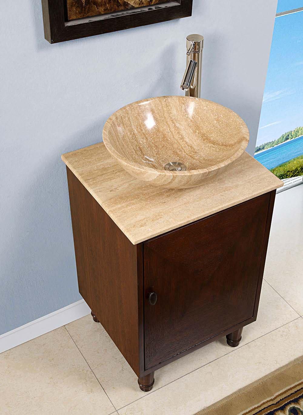 Silkroad 20 Inch Travertine Vessel Sink Vanity English Chestnut