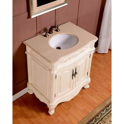 Silkroad 33 Inch Antique White Single Sink Bathroom Vanity