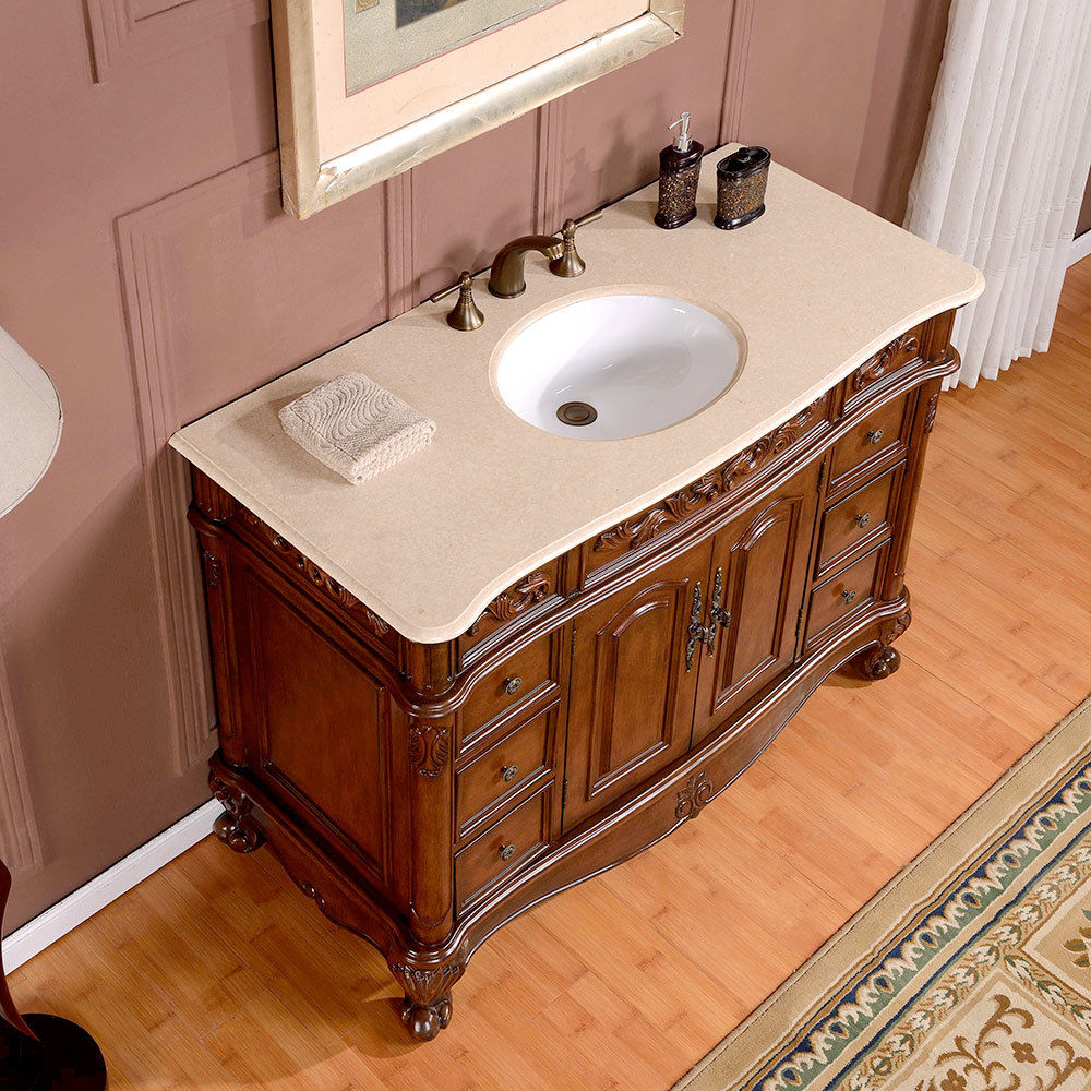 Silkroad 48 inch antique single sink bathroom vanity cream for Vanity top bathroom
