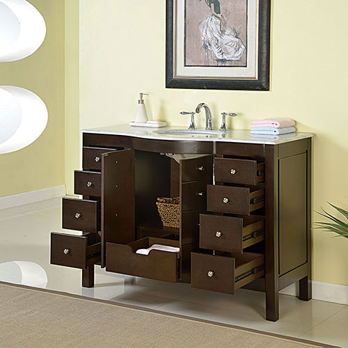 contemporary 48 inch contemporary bathroom vanity dark walnut finish