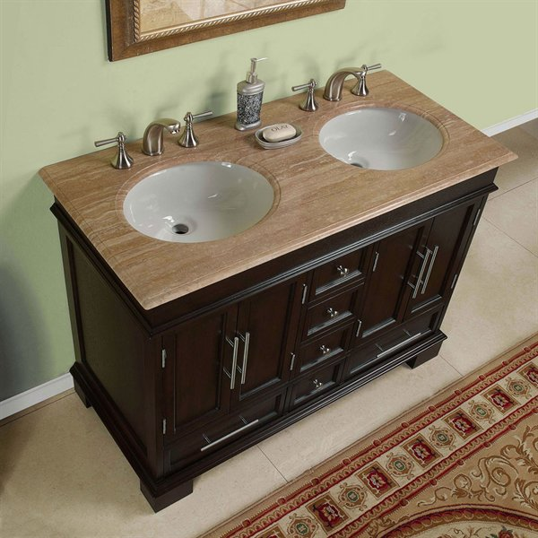 ... Silkroad 48 Inch Double Bathroom Vanity Travertine Countertop