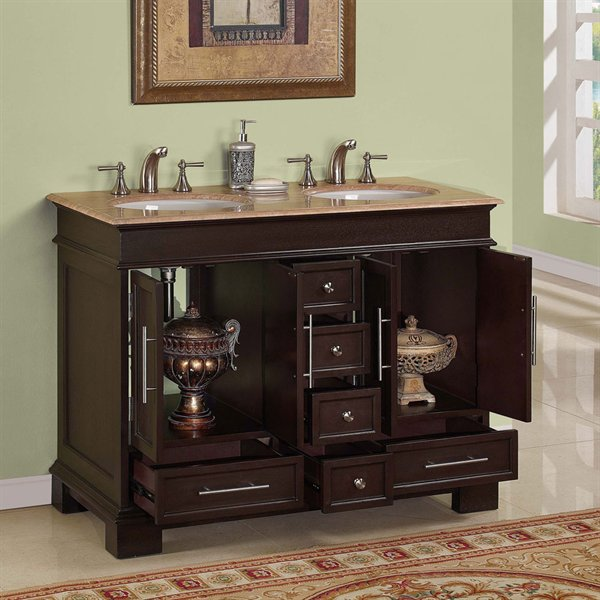 Silkroad Exclusive HYP 0224 UWC 48 48 Inch Double Sink Bathroom Vanity Roma