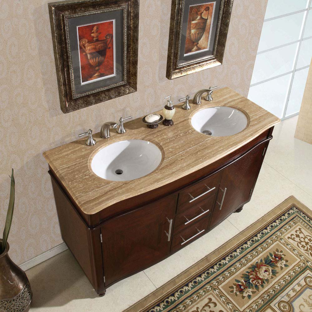 Silkroad 55 Inch Double Bathroom Vanity Roman Vein Cut Countertop