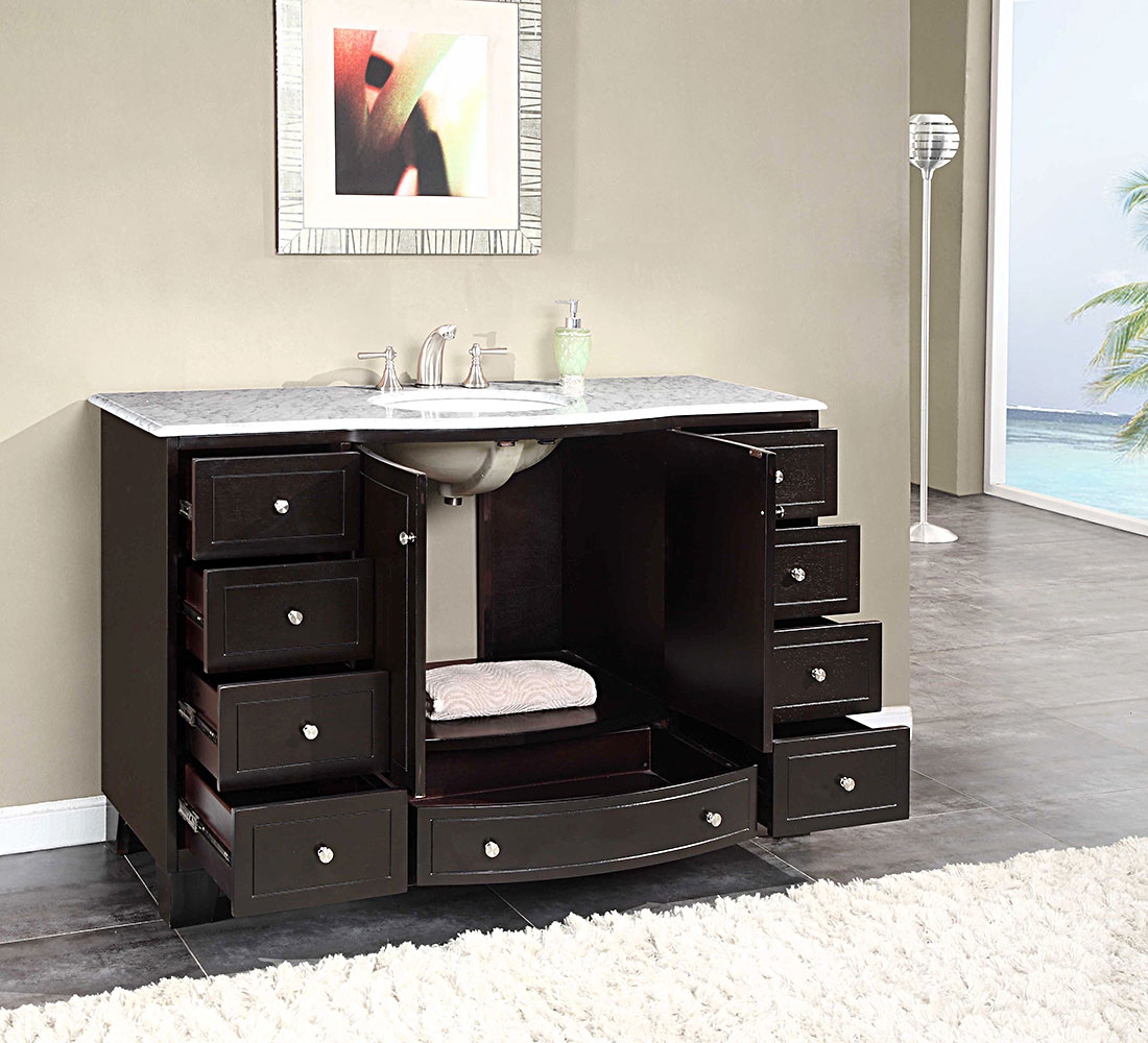 90 Inch Double Bathroom Vanity silkroad 55 inch single sink bathroom vanity carrara white marble