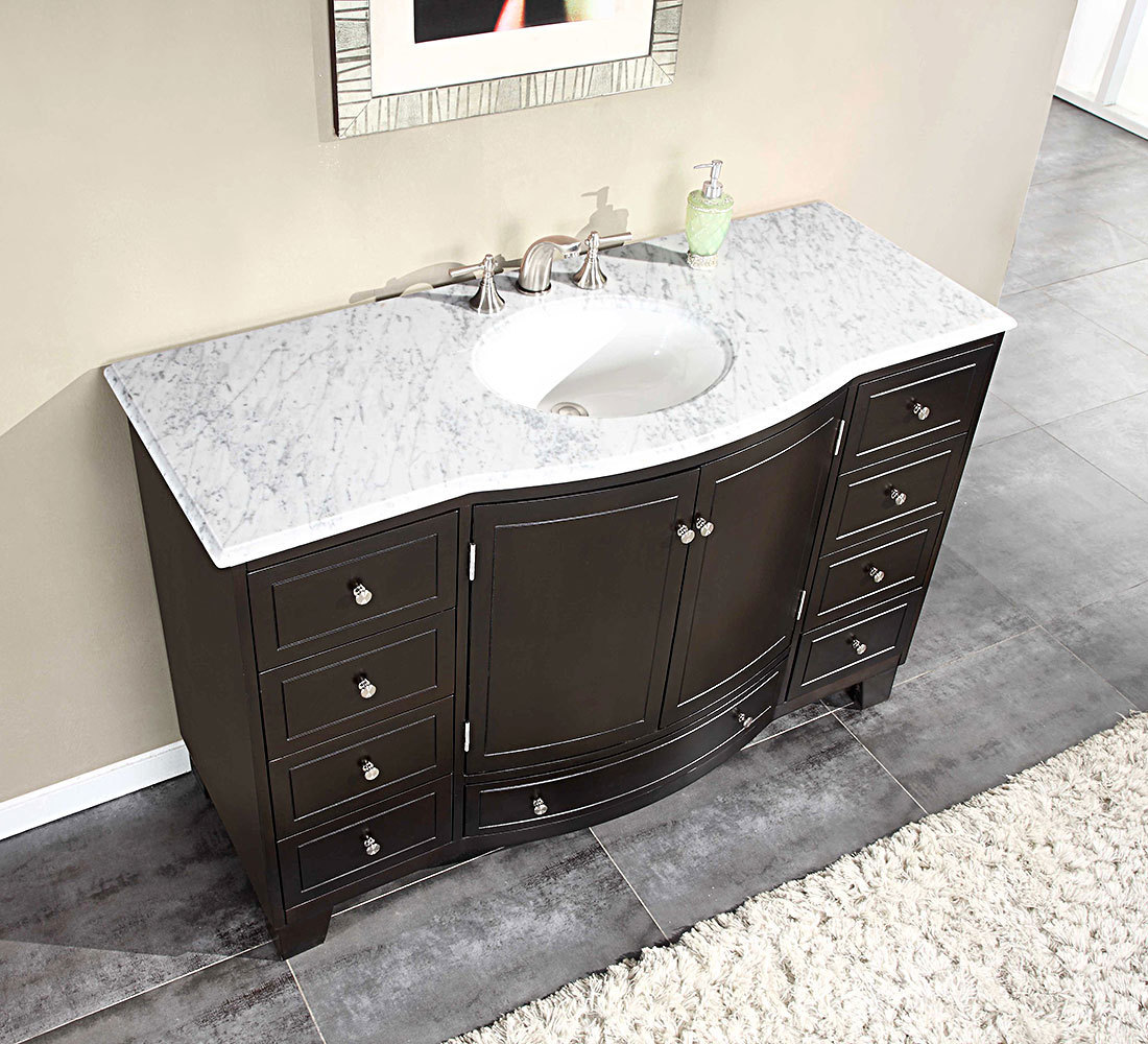 Silkroad 55 inch Single Sink Bathroom Vanity Carrara White Marble Counter top