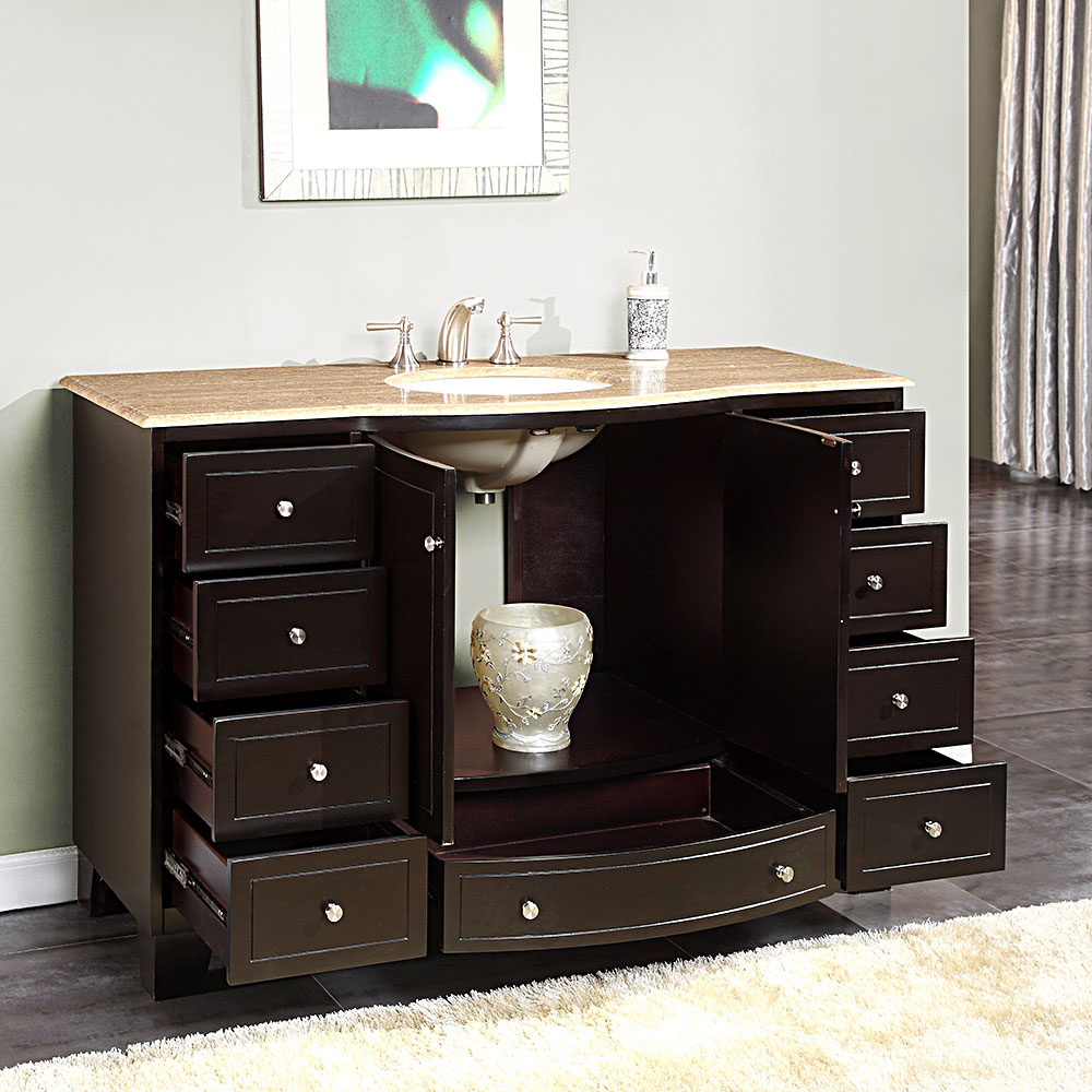 ... Silkroad 55 Inch Single Bathroom Vanity Travertine Top ...