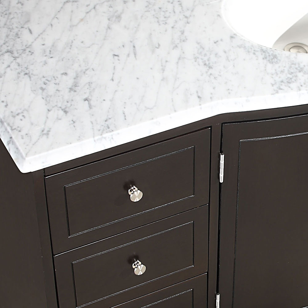 ... Silkroad 55 Inch Bathroom Vanity Carrara White Marble Top