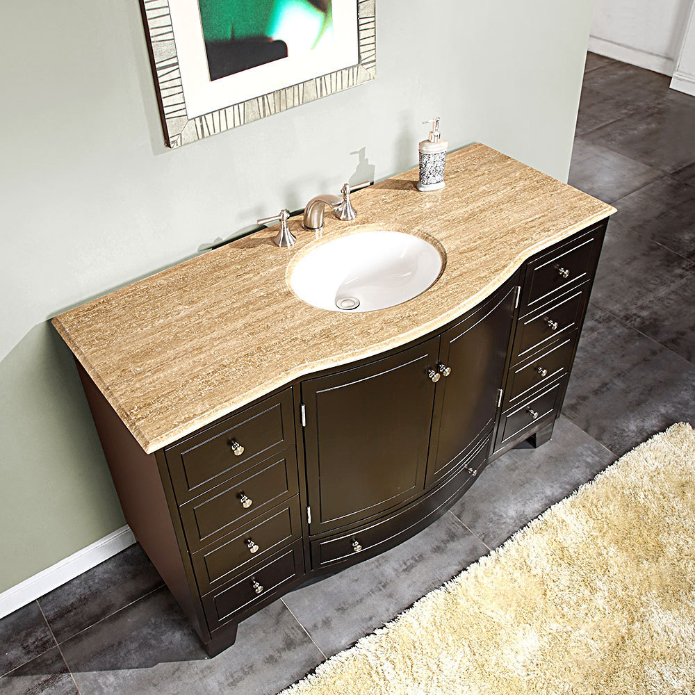 Silkroad 55 inch Single Sink Bathroom Vanity Travertine Top. Silkroad 60 inch Single Sink Bathroom Vanity Dark Walnut Finish