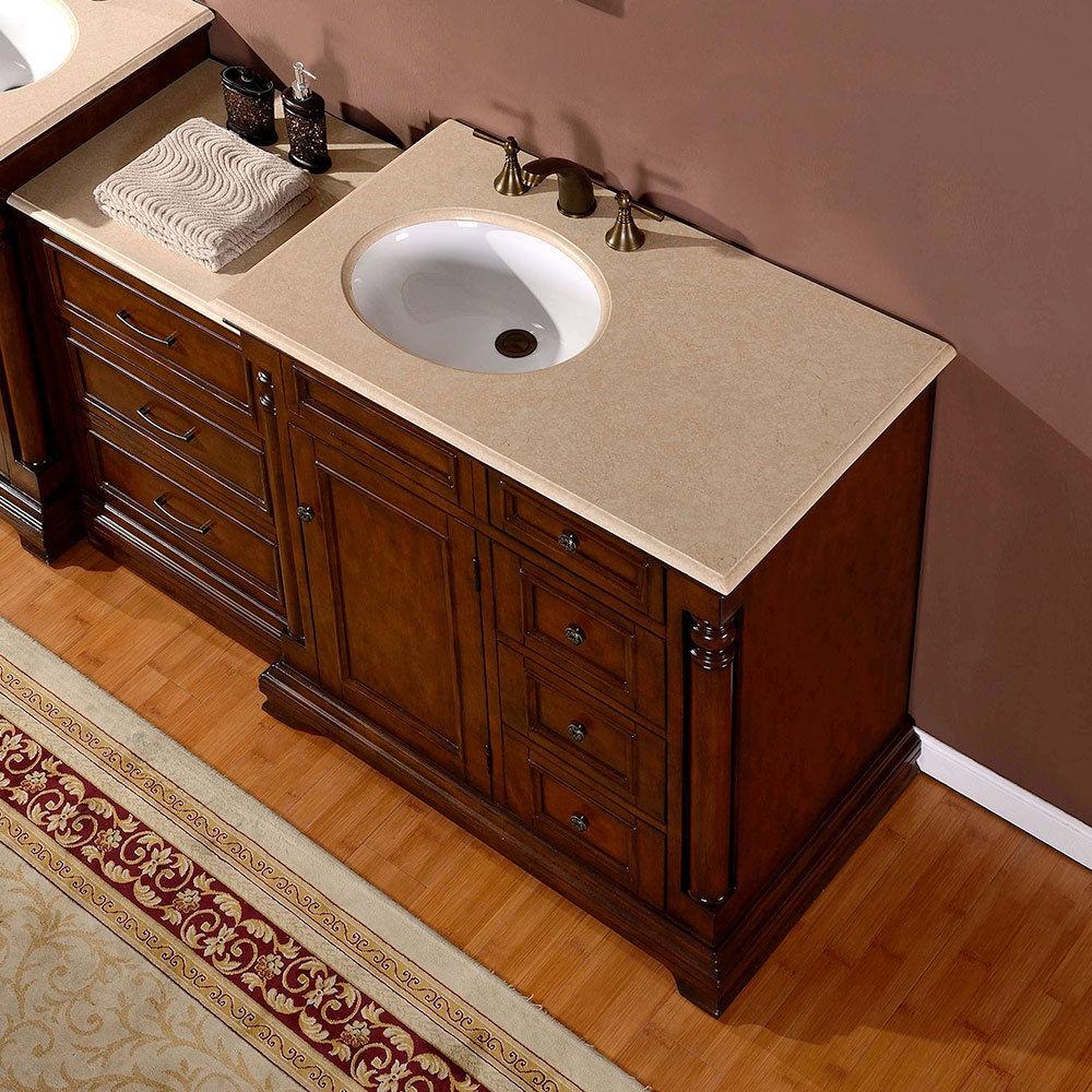 ... Silkroad 57 Inch Antique Bathroom Vanity Marble Top ...