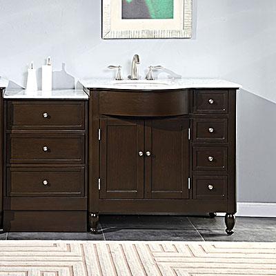 Silkroad 58 Modular Bathroom Vanity Espresso Finish with Carrera – 58 Bathroom Vanity
