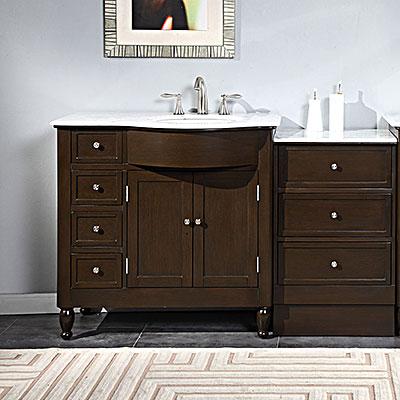 "silkroad 58"" modular bathroom vanity espresso finish with carrera"