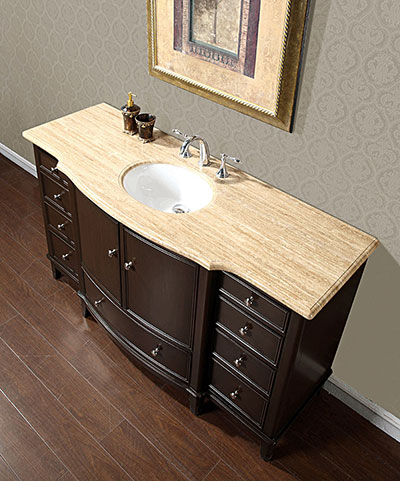 Silkroad 60 quot floating single sink bathroom vanity espresso finish