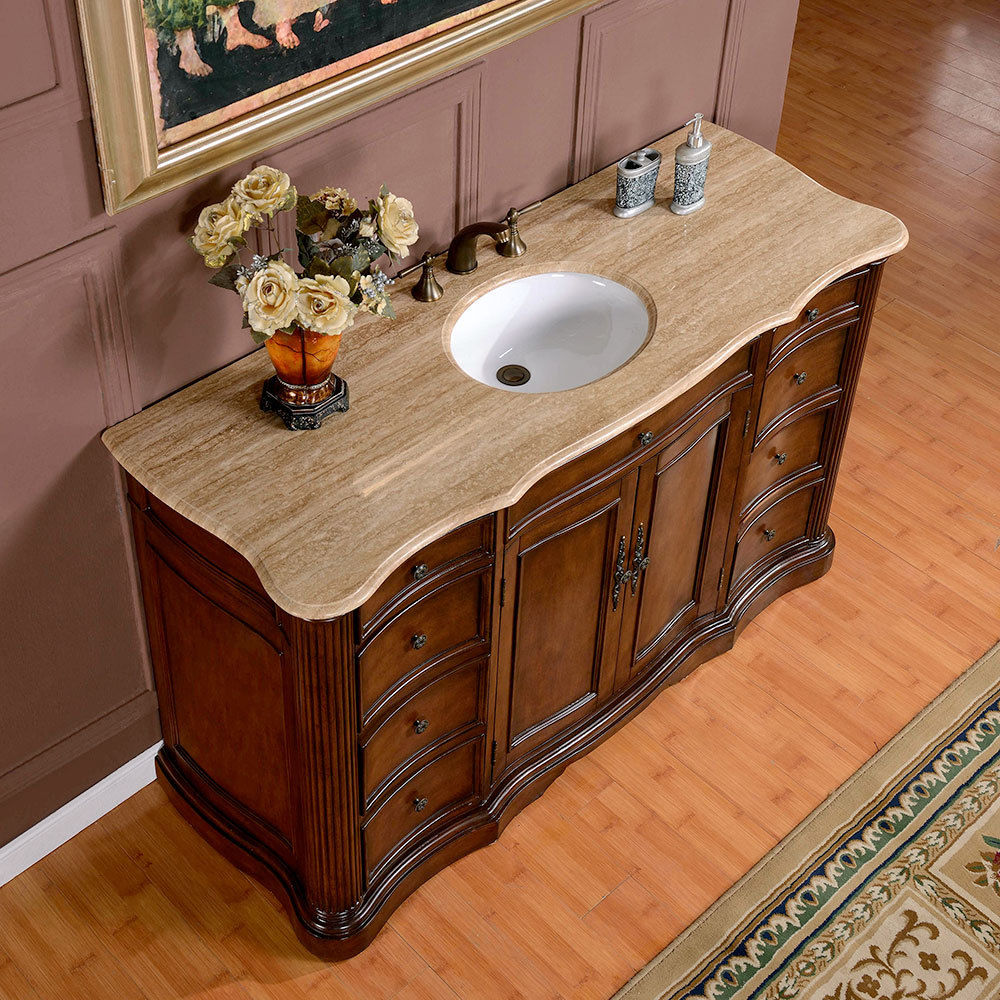 Silkroad 60 Inch Antique Single Sink Bathroom Vanity Marble Top ...