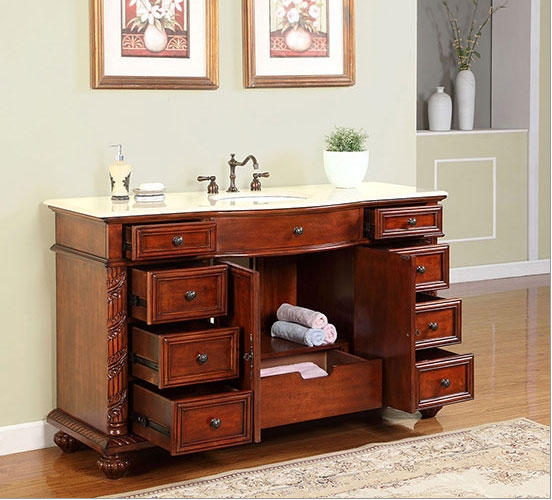 ... Silkroad 60 Inch Antique Bathroom Vanity Cream Marfil Top ...