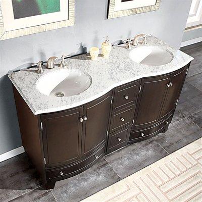 Silkroad 60 Inch Naomi Double Bathroom Carrara White Marble Top