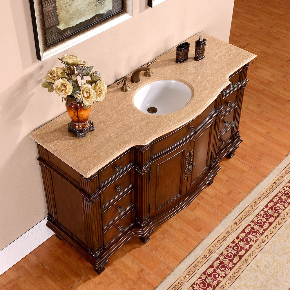 Silkroad 60 Inch Vintage Single Sink Bathroom Vanity Roman Vein Cut Travertine Counter Top