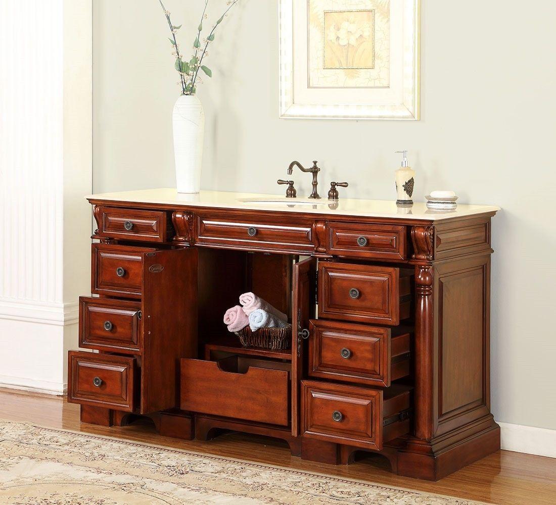 Elegant ... Silkroad 62 Inch Antique Single Bathroom Vanity Marble Top ...