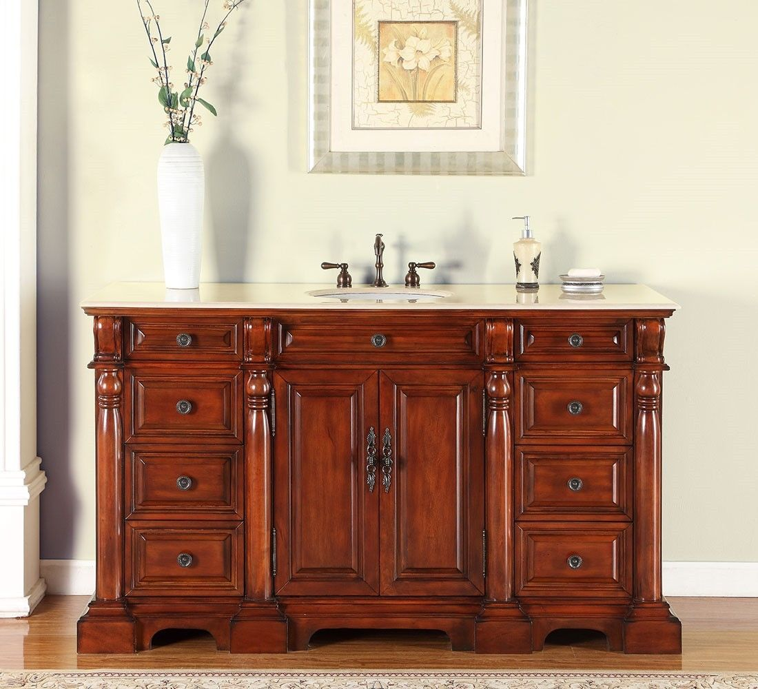 Accord 62 Inch Antique Single Sink Bathroom Vanity Marble Top