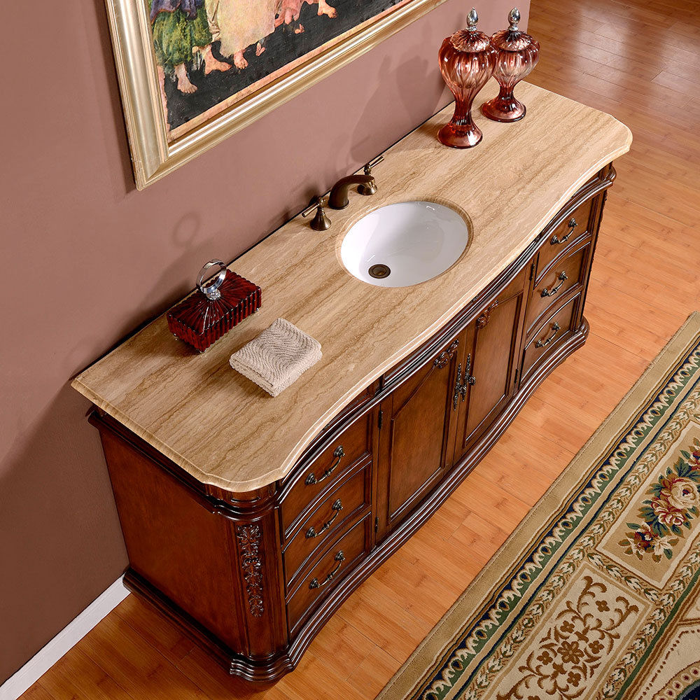 Silkroad 72 Inch Antique Single Sink Bathroom Vanity