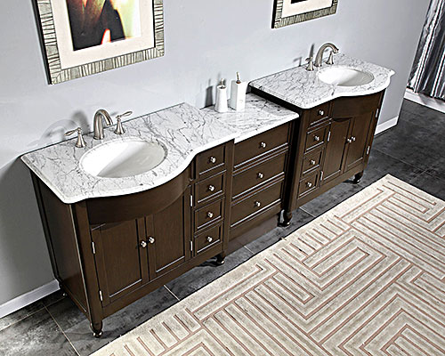Silkroad 95 modular bathroom vanity espresso finish with for Prefab vanity