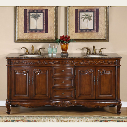 - Silkroad Antique Double Sink Vanity HYP-8034-72-BB