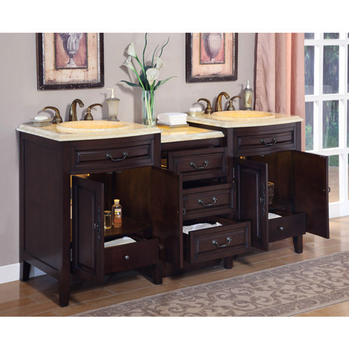 Silkroad 72 inch Double Sink Bathroom Vanity Eellow Onyx ...