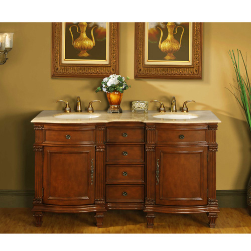 Antique Silkroad Inch Double Bathroom Vanity Travertine Top