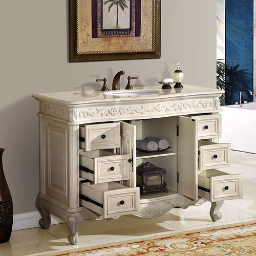 silkroad exclusive 48 inch bathroom vanity: cream marfil counter top
