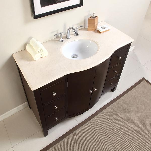 Silkroad Exclusive 48 Inch Bathroom Single Sink Vanity Stone Top