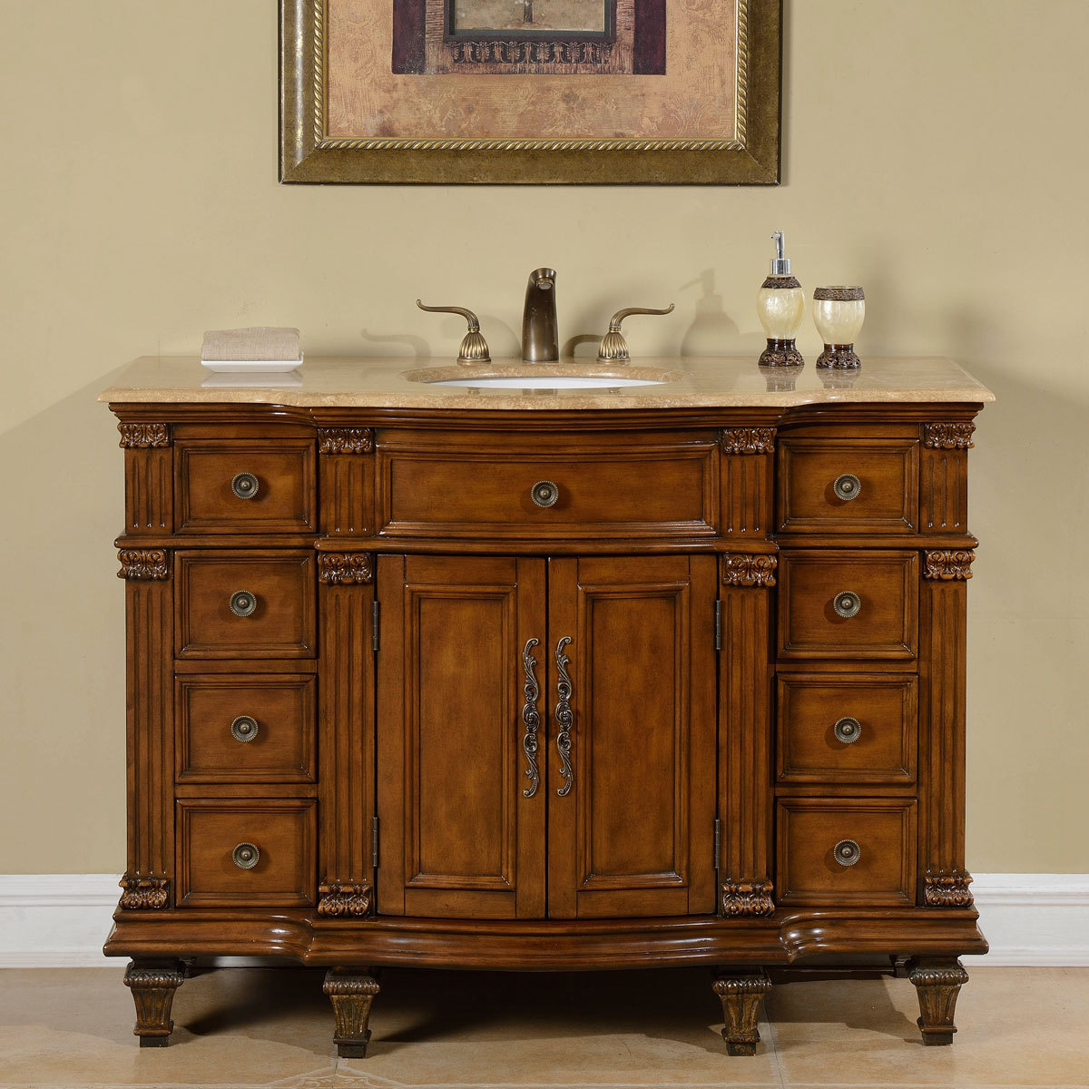 48 Inch Antique White Single Sink Bathroom Vanity ...