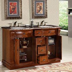 silkroad exclusive 55 inch double sink bathroom vanity, baltic