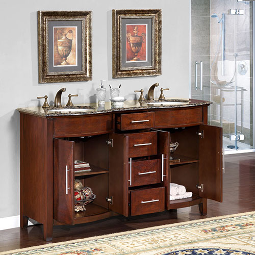 Silkroad Exclusive 58 Double Sink Bathroom Vanities
