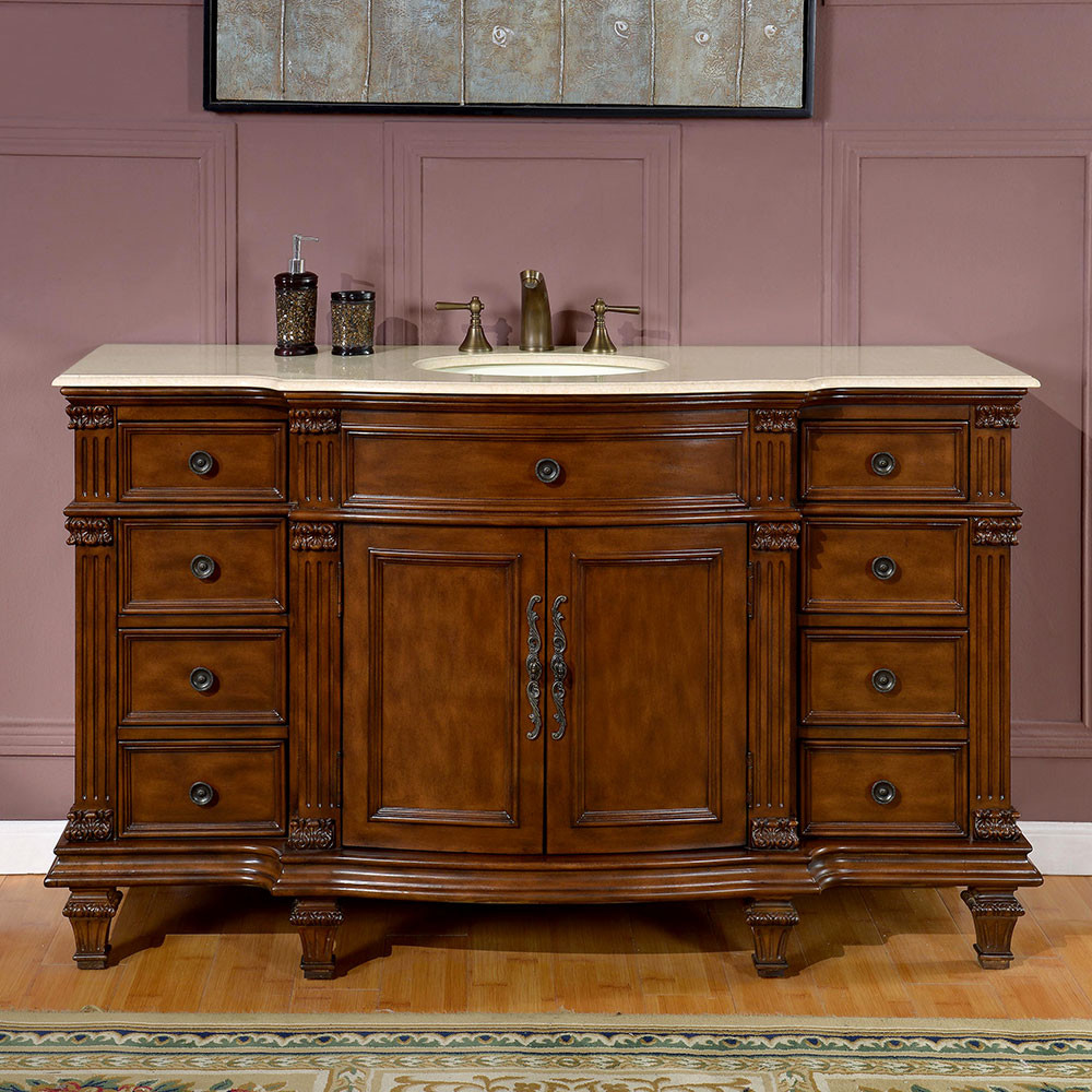 Silkroad exclusive 60 inch bathroom single sink vanity chestnut finish 60 in bathroom vanities with single sink