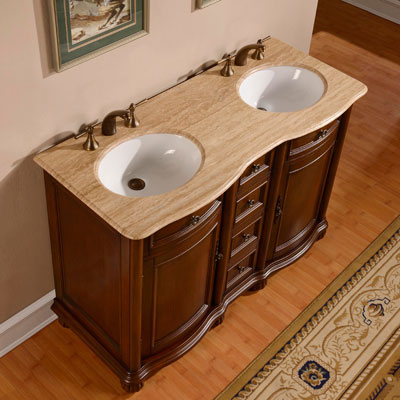 Silkroad Exclusive 52 Inch Antique Double Sink Bathroom Vanity ...