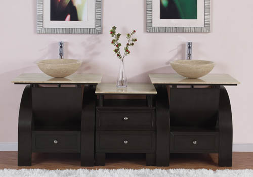 Art Kallista 77 inches Modern Double Vessel Sink Bathroom ...