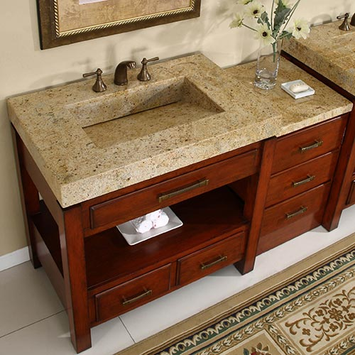silkroad 56 inch modular bathroom vanity granite top hyp-0217-56