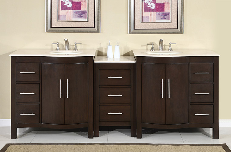 Accord Contemporary 89 inch Modular Bathroom Vanity. Silkroad Modular Bathroom Vanity HYP 0912LMR   Cream Marfil top