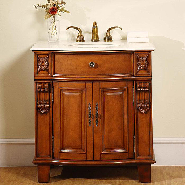 Silkroad Single Sink Bathroom Vanity Cabinet Exquisite Rich Antiqued Cherry Finish
