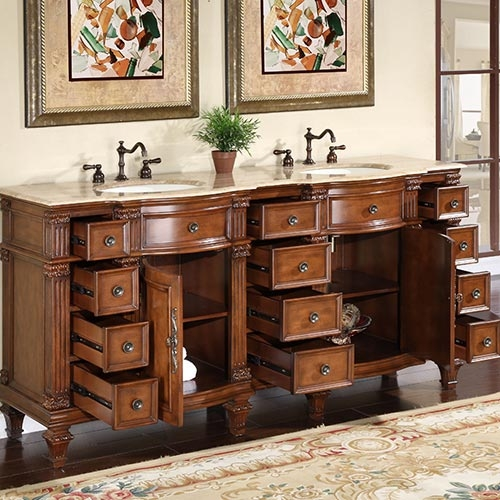 Silkroad Antique Double Sink Vanity Silkroad Antique Double Sink Cabinet ... - Silkroad Antique Double Sink Vanity HYP-0722-72